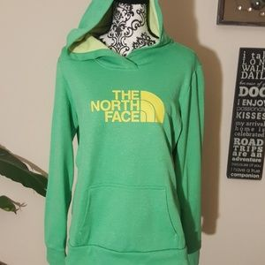North Face hoodie, Green and yellow Womans Large